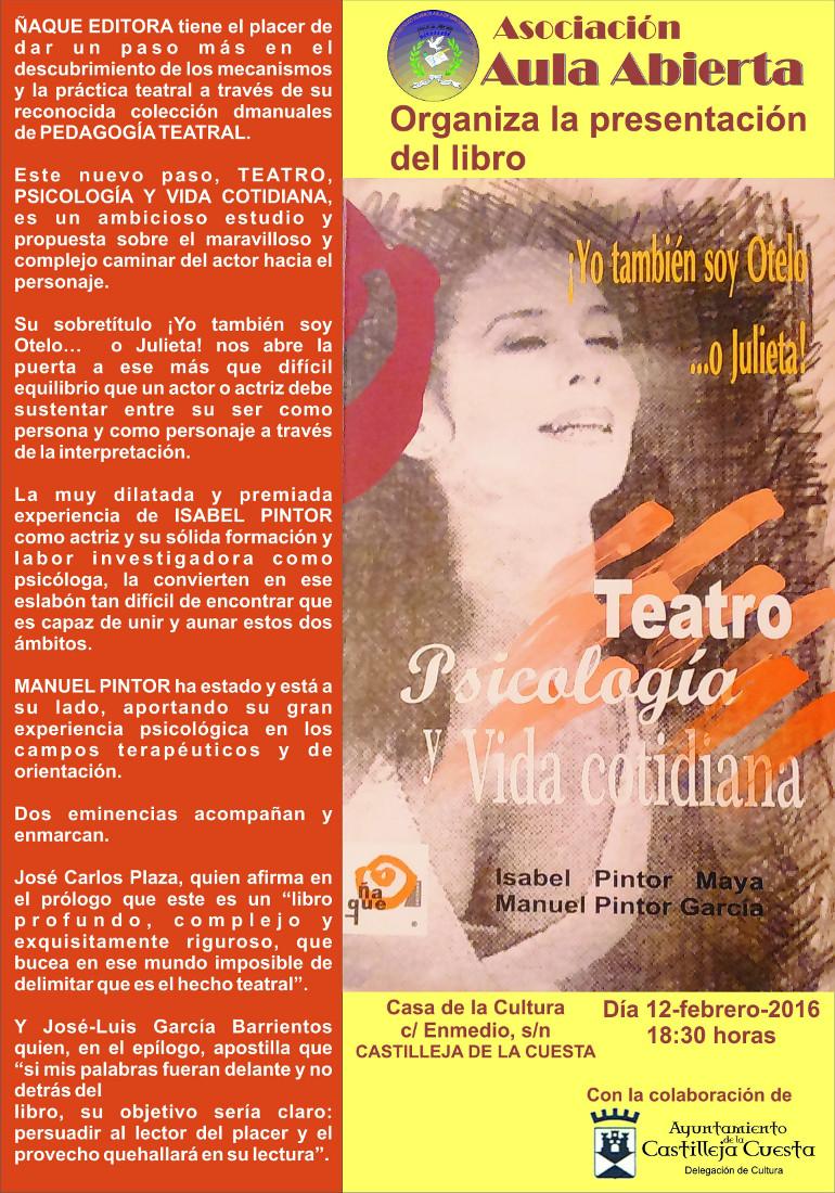 'Teatro, Psicologia y Vida Cotidiana' se presenta en Sevilla por Isabel Pintor